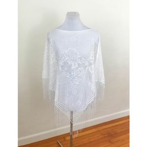Vintage Lace Poncho Shawl